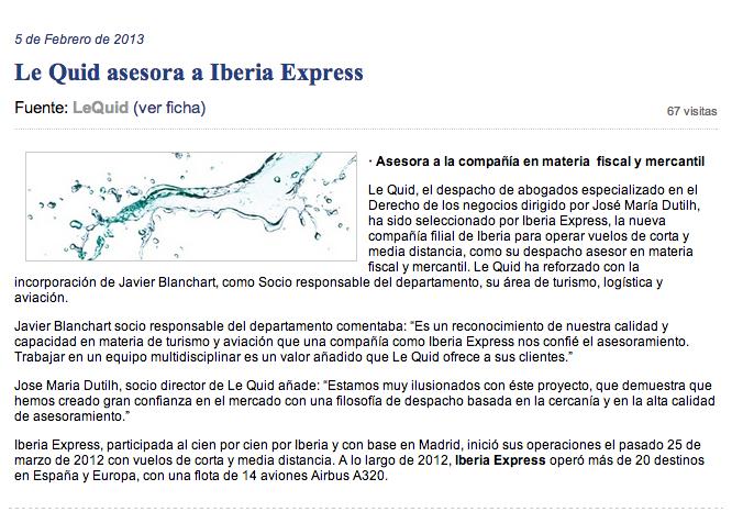 LeQuid asesora a Iberia Express