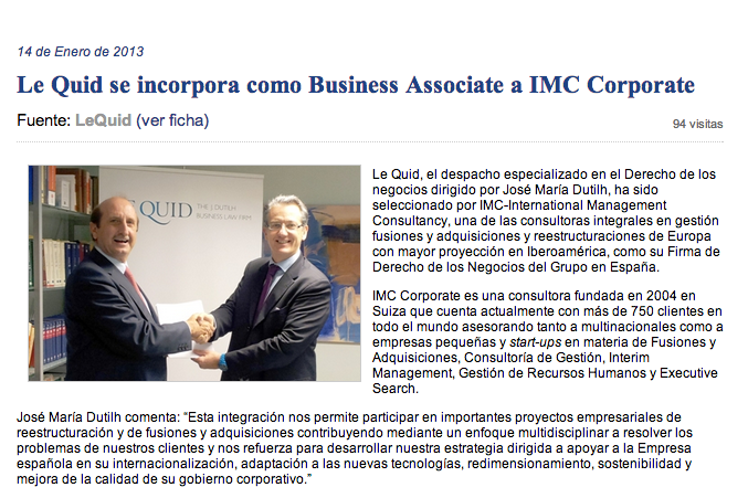 LE QUID SE INCORPORA COMO BUSINESS ASSOCIATE A IMC CORPORATE.