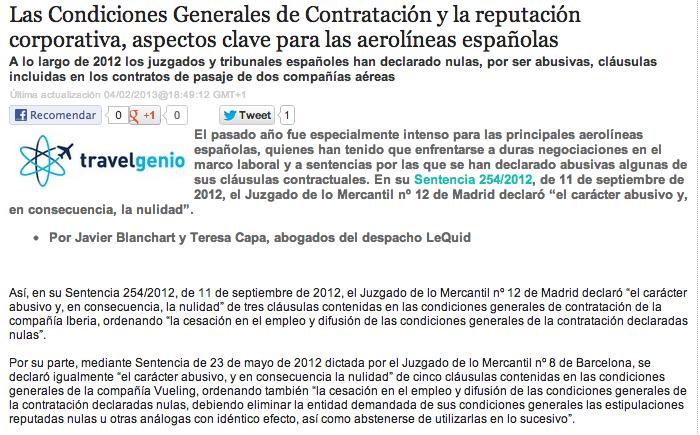 LAS CONDICIONES GENERALES DE CONTRATACIÓN Y LA REPUTACIÓN CORPORATIVA, ASPECTOS CLAVE PARA LAS AEROLÍNEAS ESPAÑOLAS.